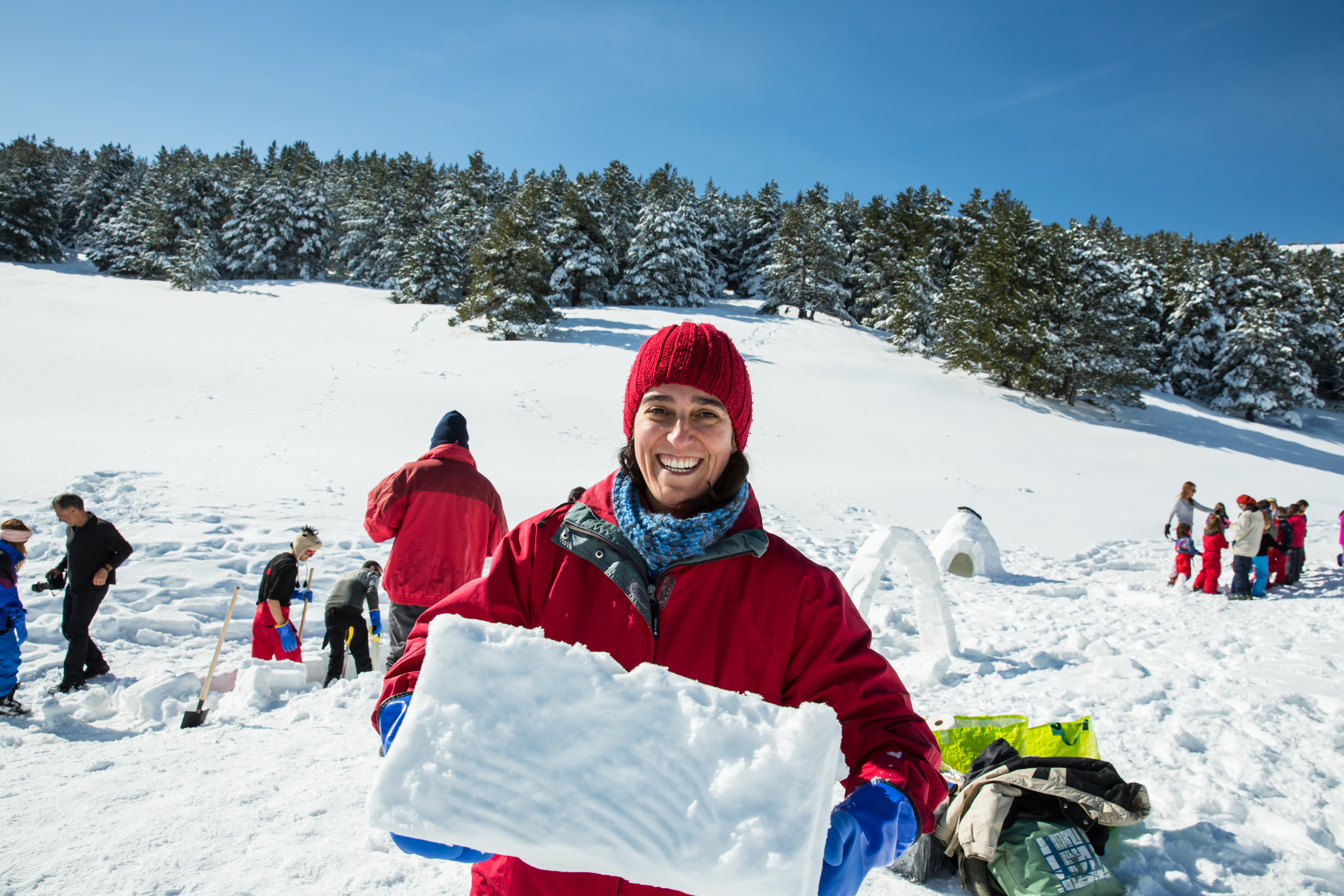 Smiling faces and lots of fun. Are you up for building an igloo?